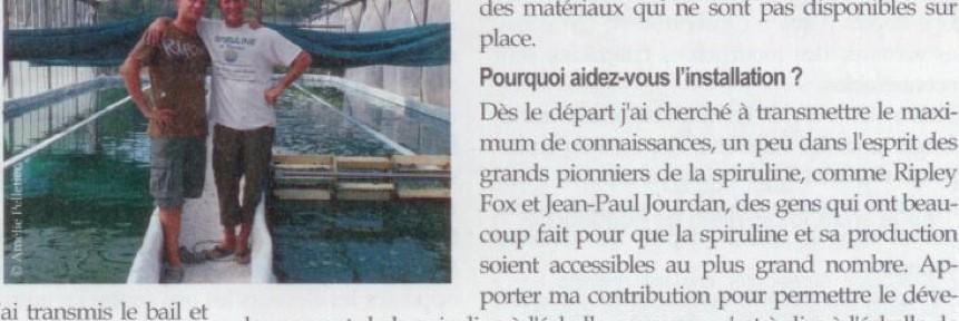 Interview de Jean-Bernard Simian, producteur de spiruline artisanale à Carqueiranne