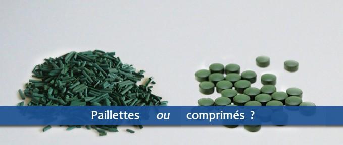 spiruline paillette vs. spiruline comprimés