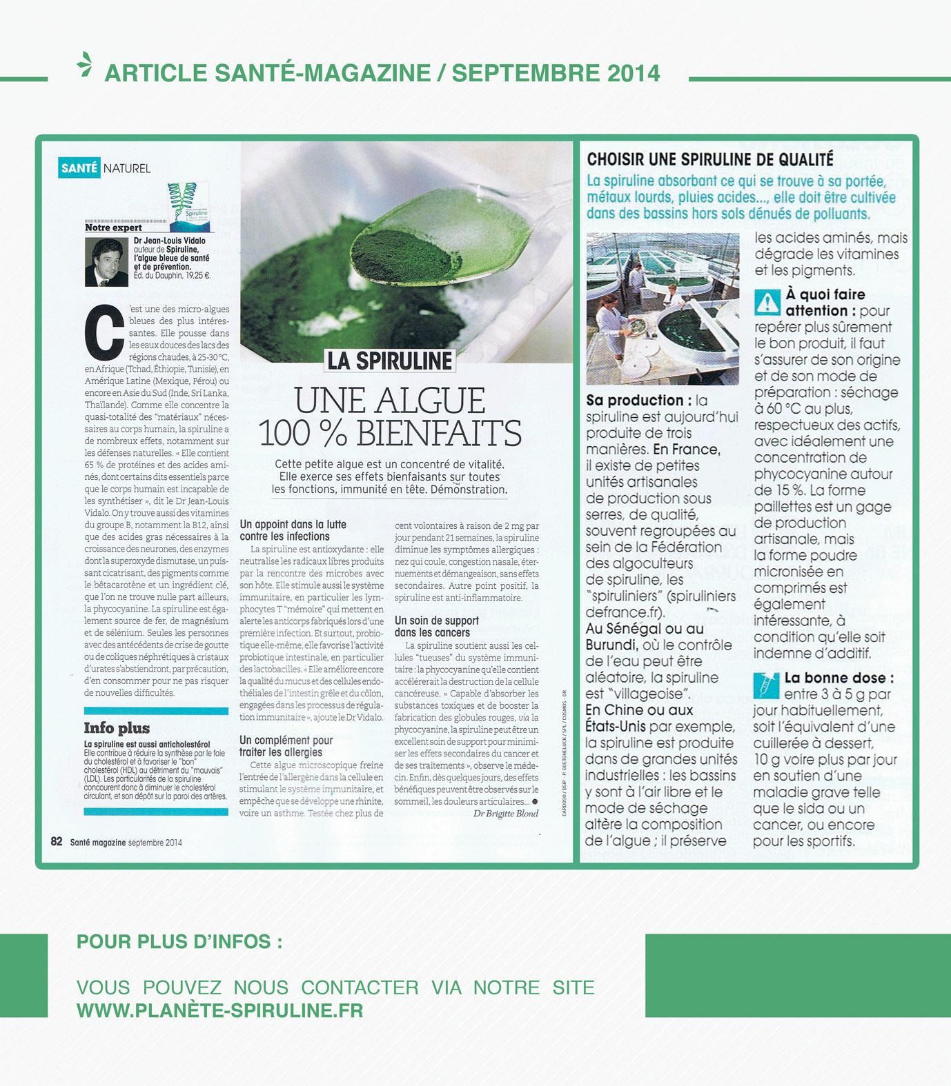 Article SANTÉ MAGAZINE SPIRULINE SEPT 2014