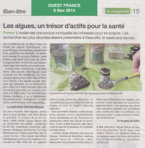 Ouest France - colloque spiruliniers 2014