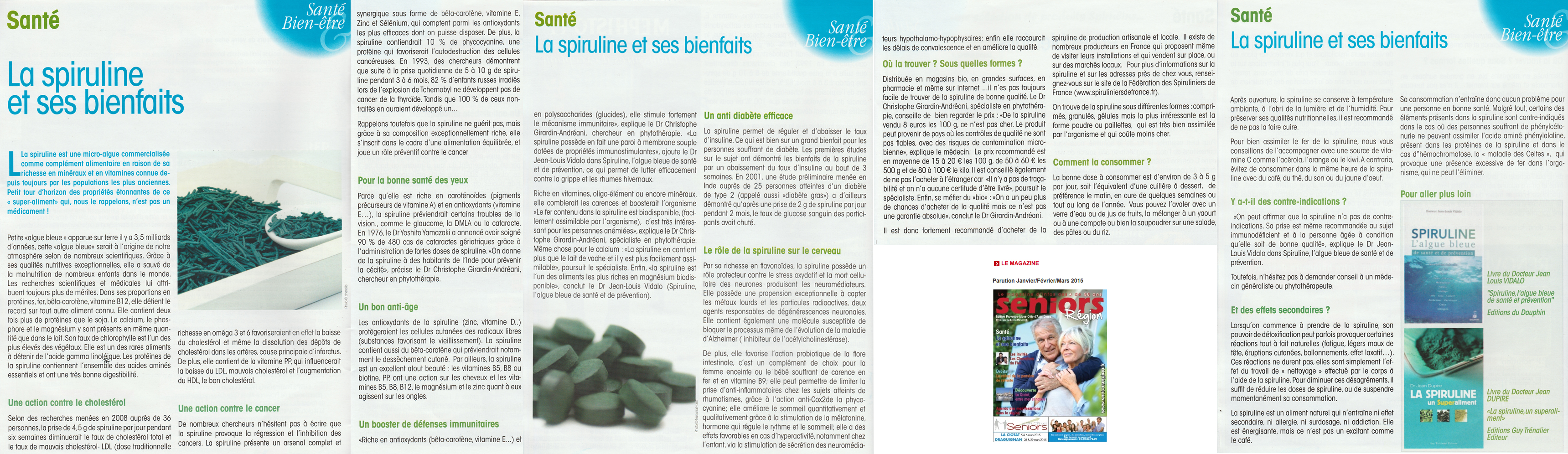 Seniors Région - article Bienfaits spiruline